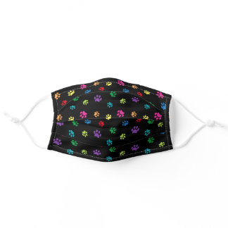 Colorful Paw Prints Pattern on Black Adult Cloth Face Mask