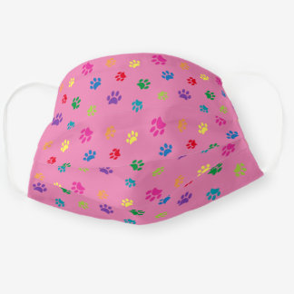 Colorful Paw Prints Pattern on Pink Adult Cloth Face Mask