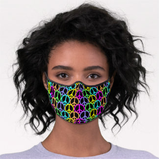 Colorful Peace Sign Pattern Premium Face Mask
