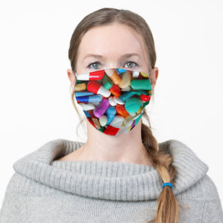 colorful pills adult cloth face mask