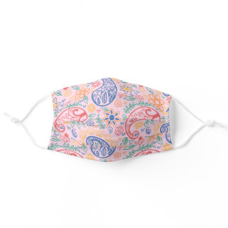 Colorful Pink Paisley Floral Art Pattern Adult Cloth Face Mask