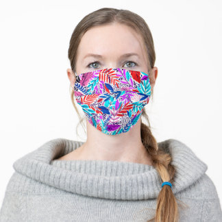 Colorful pink red blue floral pattern washable adult cloth face mask