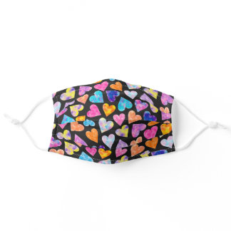 Colorful pink watercolor hearts pattern cute black adult cloth face mask