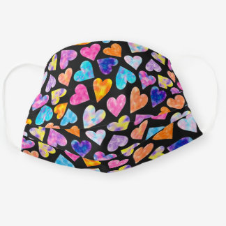 Colorful pink watercolor hearts pattern cute black cloth face mask