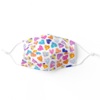 Colorful pink watercolor hearts pattern cute white adult cloth face mask