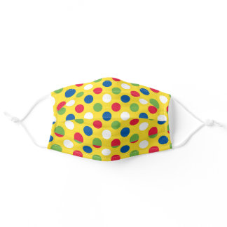 Colorful Polka Dot Pattern Yellow Background Adult Cloth Face Mask