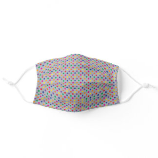 colorful polka dots on gray adult cloth face mask