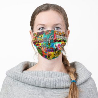 Colorful Pop Art Mixed-Media Collage Face Mask
