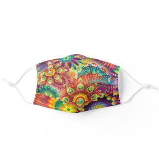 Colorful & Psychedelic Flowers Adult Cloth Face Mask