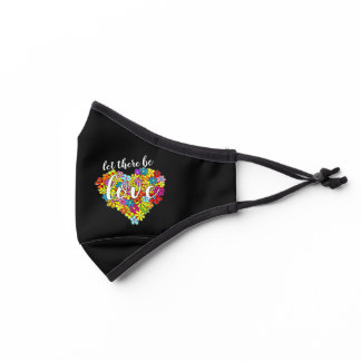 Colorful Rainbow Flag Colors Foral Heart Pattern Premium Face Mask