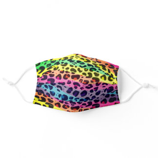 Colorful rainbow leopard spots animal print adult cloth face mask