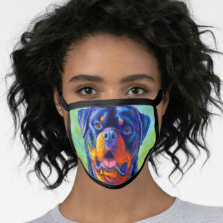 Colorful Rainbow Rottweiler Dog Face Mask