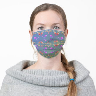 Colorful Rose Heart Pattern on Pale Blue Moss Adult Cloth Face Mask