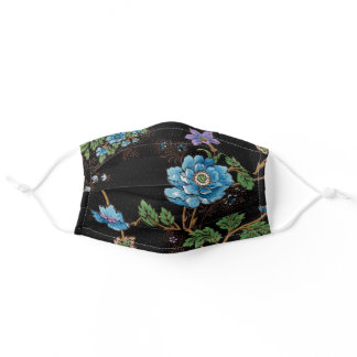 Colorful Roses & Oriental Poppies-Black Background Adult Cloth Face Mask