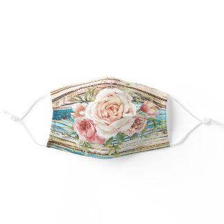 Colorful Rustic Flower Rose Teal Stylish Adult Cloth Face Mask