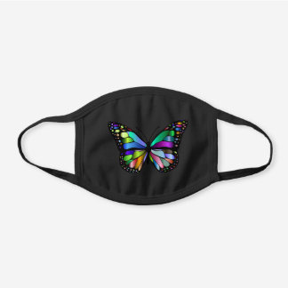 Colorful Shimmering Stained Glass Butterfly Black Cotton Face Mask