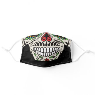 Colorful skull adult cloth face mask