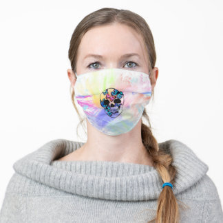 Colorful skull with butterflies adult cloth face mask