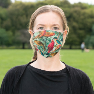Colorful Songbirds & Green Leaves Pattern  Adult Cloth Face Mask