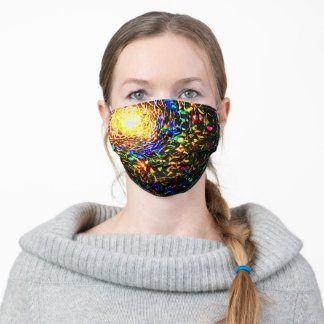 Colorful Stained glass mosaic print face mask