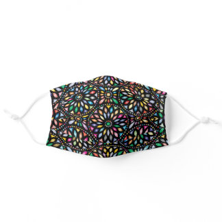 Colorful Stained Glass Windows On Black Adult Cloth Face Mask