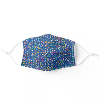 Colorful Stained Glass Windows On Blue Adult Cloth Face Mask