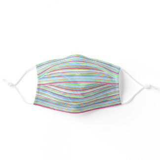 Colorful Stripes Pattern On Wrinkled Paper Looking Adult Cloth Face Mask