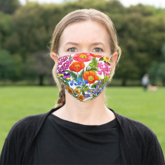 Colorful Summer Garden Flowers Floral Adult Cloth Face Mask