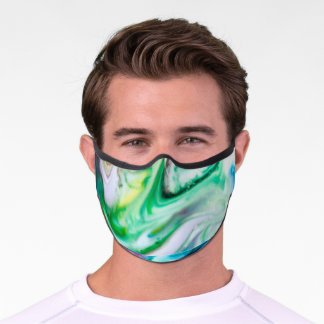 Colorful Swirls Abstract Green White Black Blue  Premium Face Mask