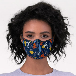 Colorful tropical leaves pattern premium face mask