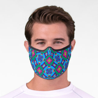 Colorful Vibrant Pattern Blue Green Pink Mandala Premium Face Mask