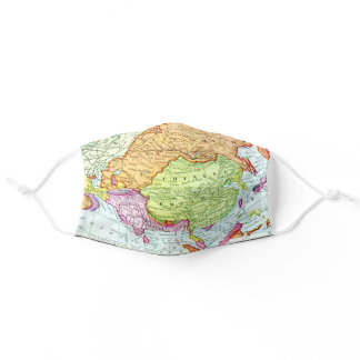 Colorful Vintage Map of Asia Adult Cloth Face Mask