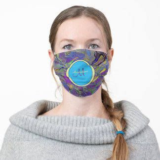 Colorful Watercolor Abstract Pattern Monogram Adult Cloth Face Mask