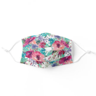 Colorful Watercolor Floral Pattern Adult Cloth Face Mask
