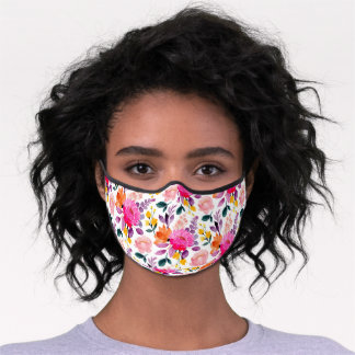 Colorful watercolor girly floral modern pattern premium face mask