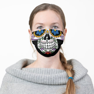 colourful day of the dead sugar skull cloth face mask