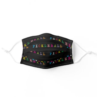 Colourful pickleball lettering on black adult cloth face mask