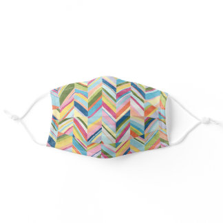 Colourful Watercolor Zig Zag Stripe Art Pattern Adult Cloth Face Mask