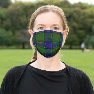 Colquhoun tartan blue green plaid adult cloth face mask