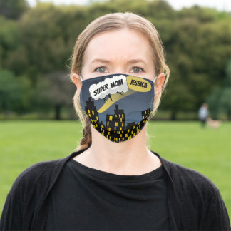 Comic Book City at Night Cloud Word Bubble Name Adult Cloth Face Mask
