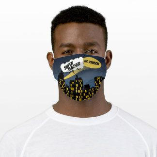 Comic Book City at Night Cloud Word Bubble Name Cloth Face Mask