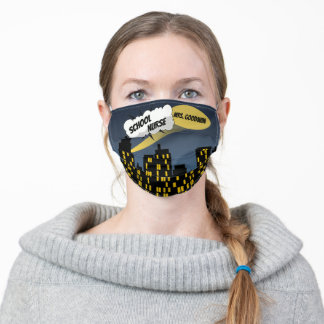 Comic Book City at Night Cloud Word Bubble Title Adult Cloth Face Mask