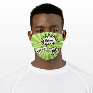 Comic Book Green Starburst Pop Art Name Bubble Adult Cloth Face Mask