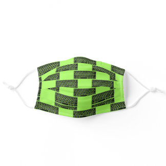 Computer keyboard on green adult cloth face mask
