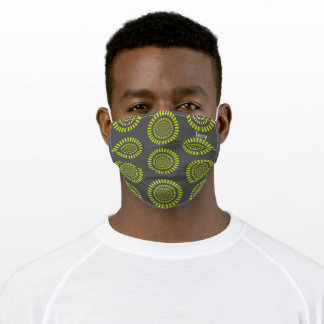 Concentric lime green bars on grey adult cloth face mask
