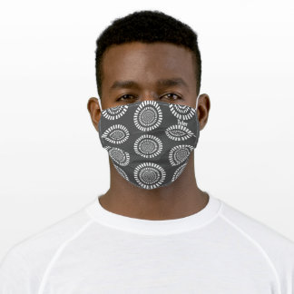 Concentric white bars on black adult cloth face mask