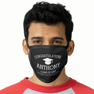 Congratulations Graduate Graduation Cap and Name Face Mask