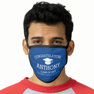 Congratulations Graduate Graduation Cap Name Blue Face Mask