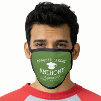 Congratulations Graduate Graduation Cap Name Green Face Mask
