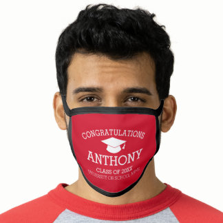 Congratulations Graduate Graduation Cap Name Red Face Mask